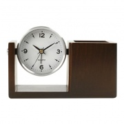 Wooden Desk Clock with Pen Holder BG-0045